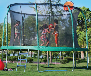 14-Foot Trampoline Combo with basketball hoop